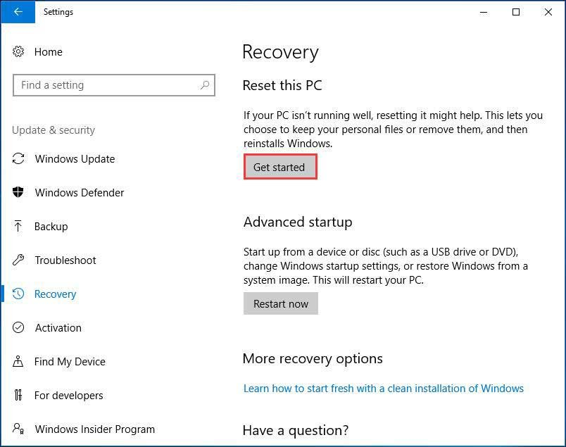Windows 10 Recovery settings