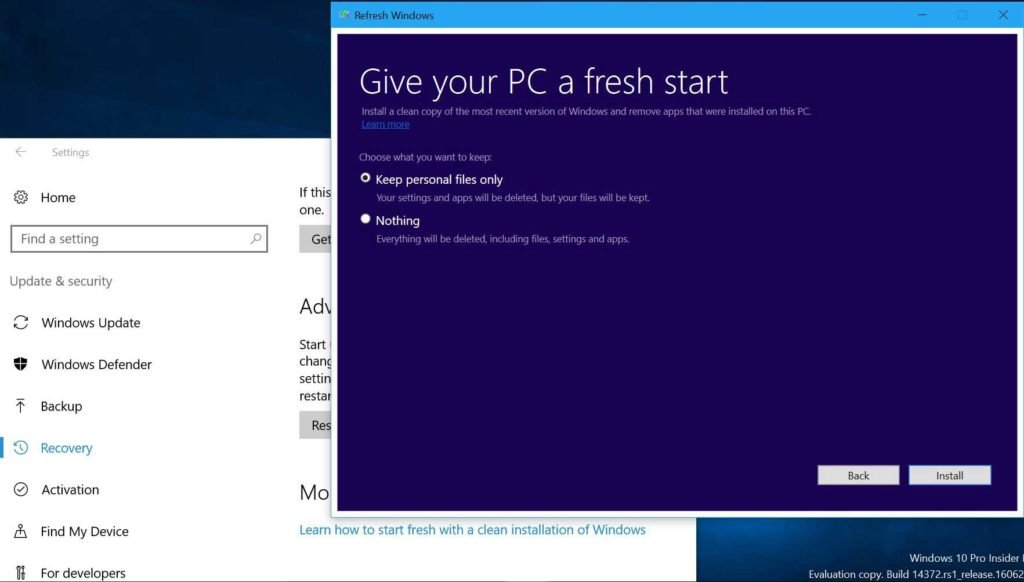 Windows 10 refresh works