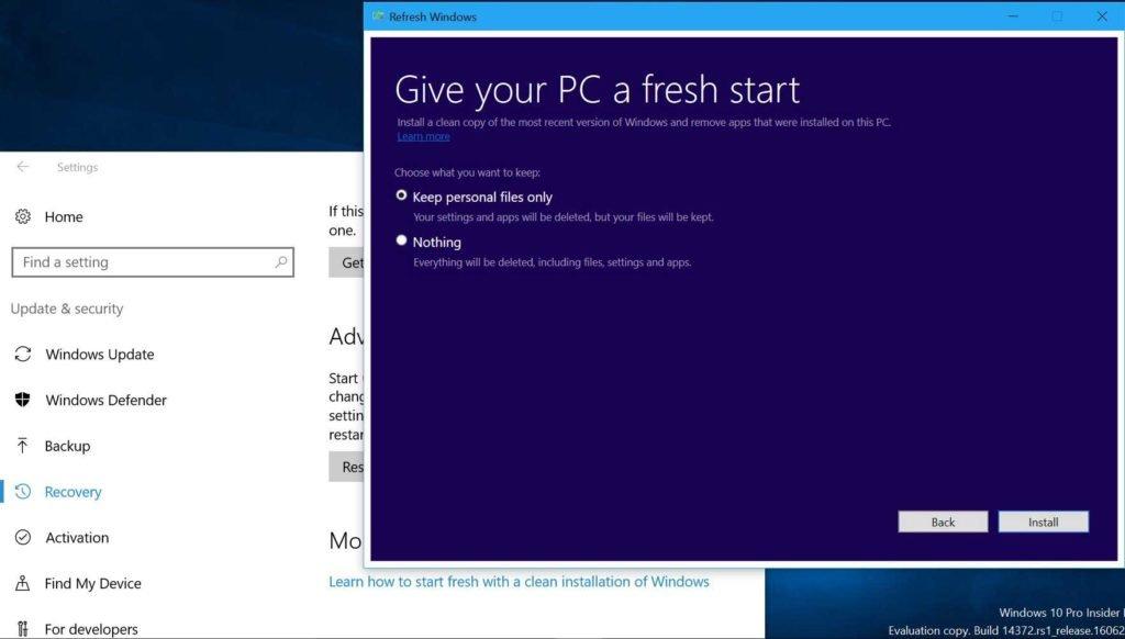 Windows 10 refresh works
