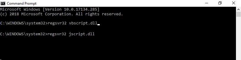 regsvr32 jscript.dll