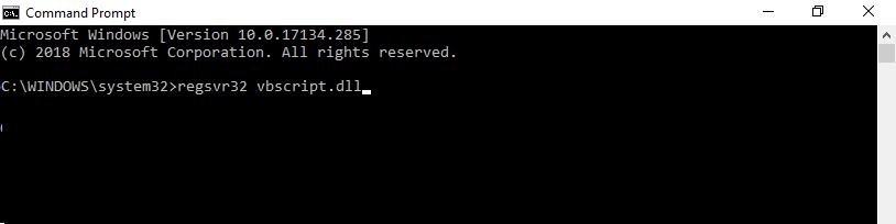 regsvr32 vbscript.dll