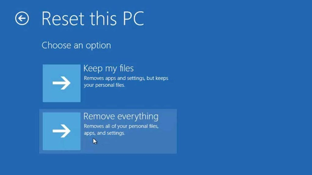 Windows 10 reset this pc settings