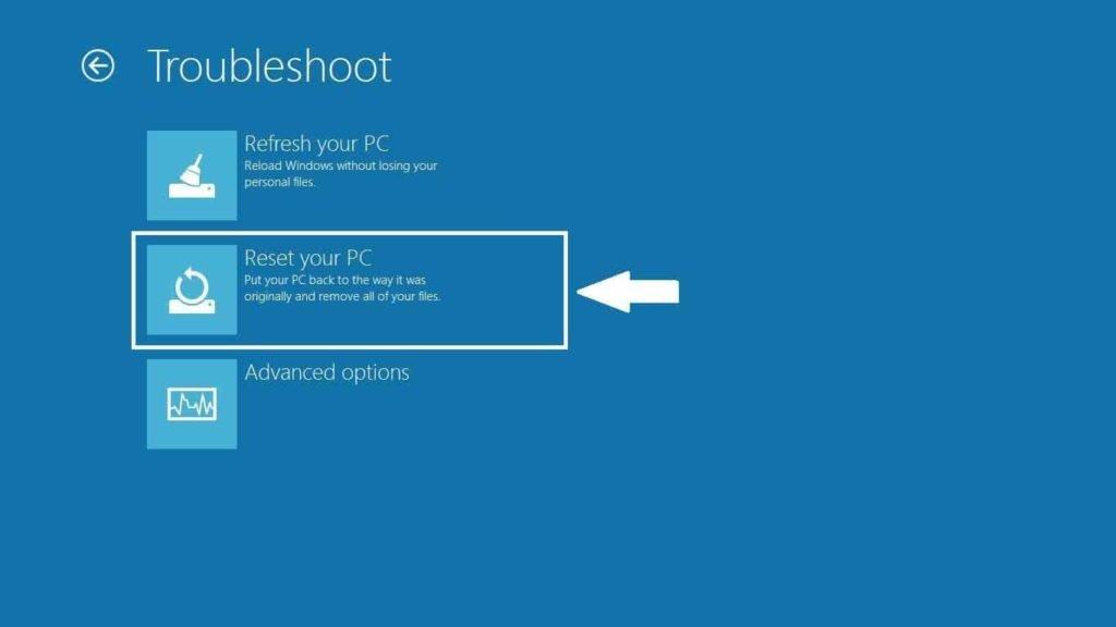 Windows 10 Reset pc option