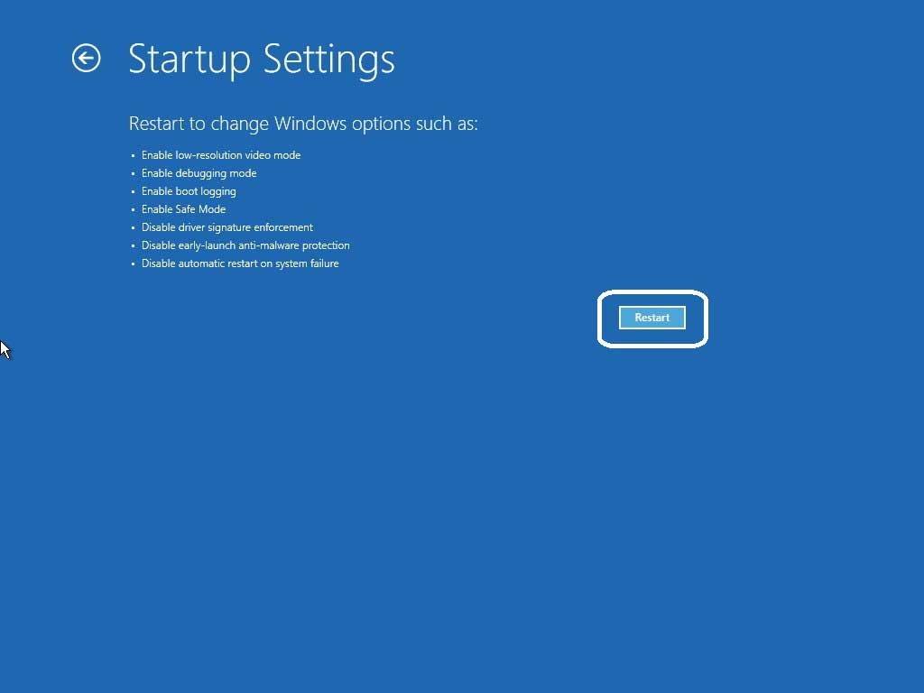 Restart startup settings