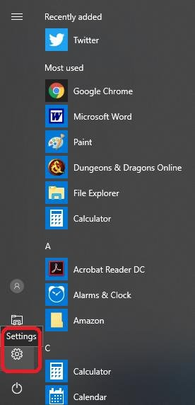 settings icon on start menu