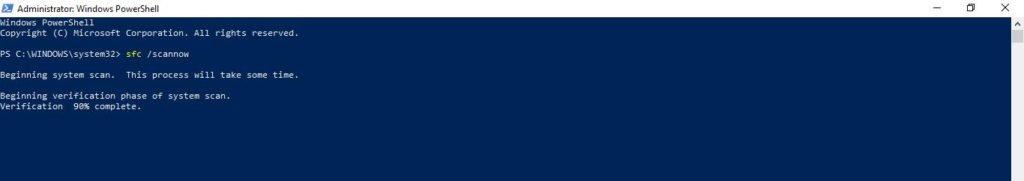 Run windows command sfc scannow