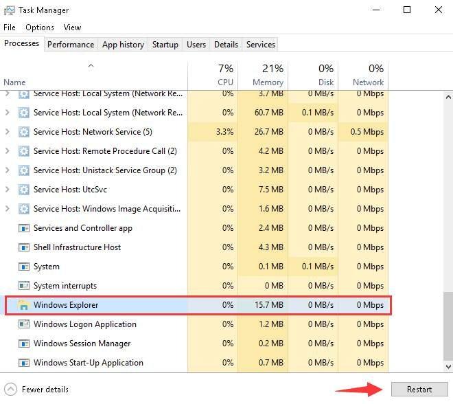 windows explorer on task manager