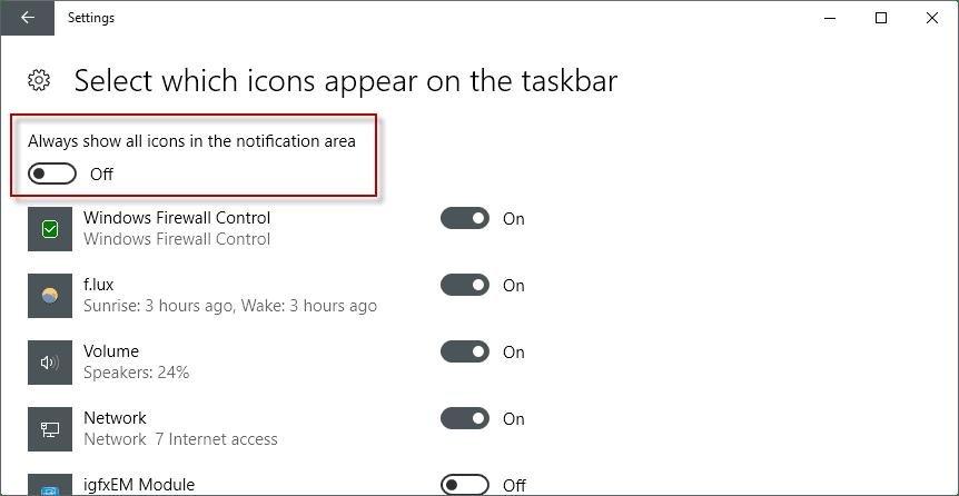 taskbar settings panel