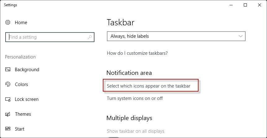 icons app on taskbar settings