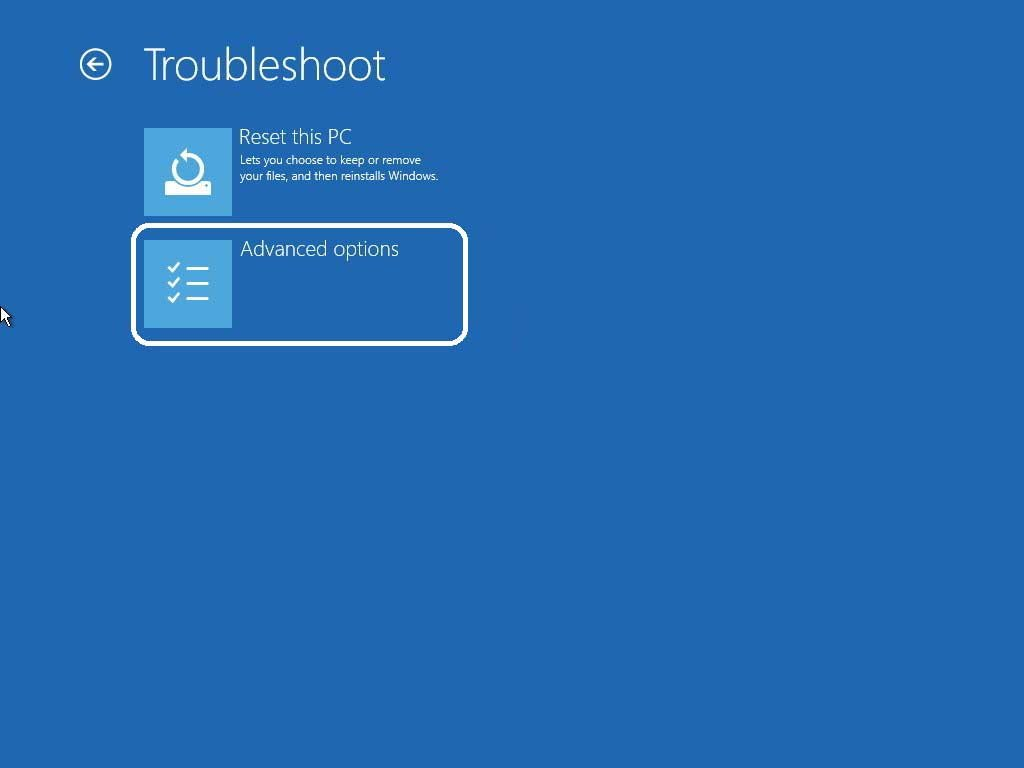 Navigate troubleshoot advanced options