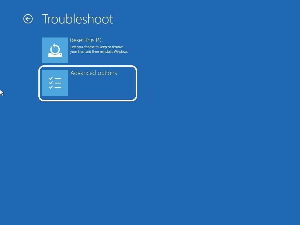 Navigate troubleshoot advanced options