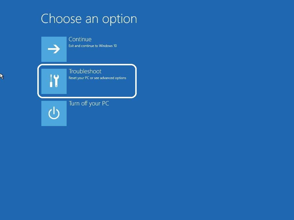 Navigate windows 10 troubleshoot option