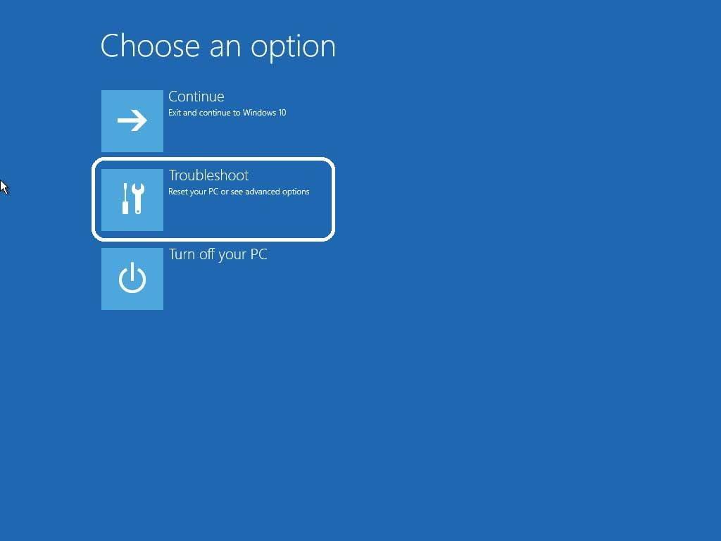 Navigate windows 10 troubleshoot option