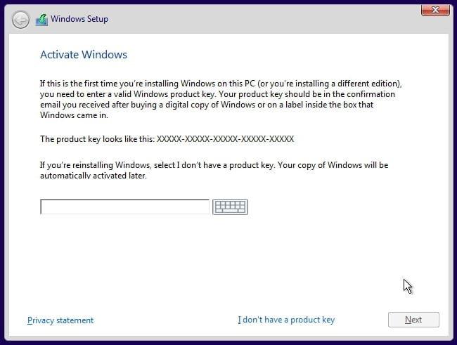 Windows 10 activation settings