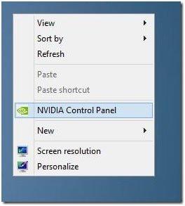 NVIDIA control_panel on list