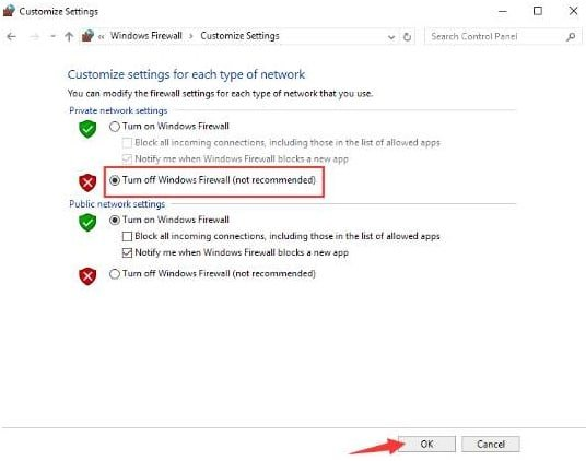 Public and Private Network settings