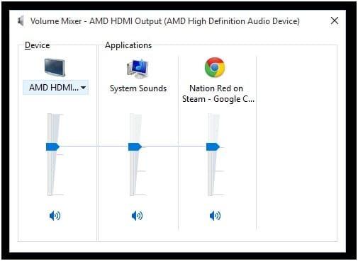 Volume Mixer AMD HDMI Output