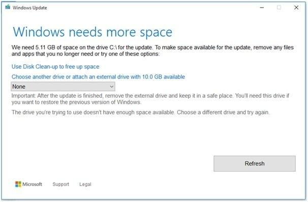 Windows needs more space