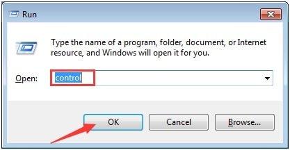 control on run dialog box