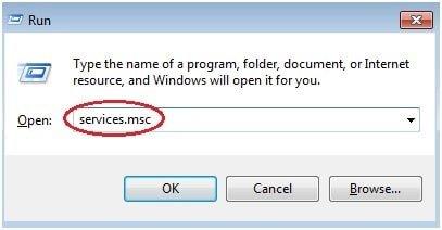 services.msc on run dialog box