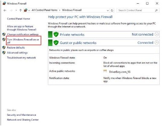 Arahkan windows firewall wizard