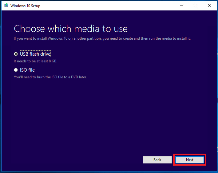click Next for USB flash drive