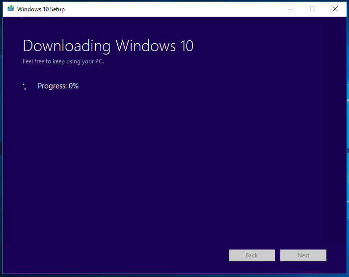 Windows 10 downloading progress