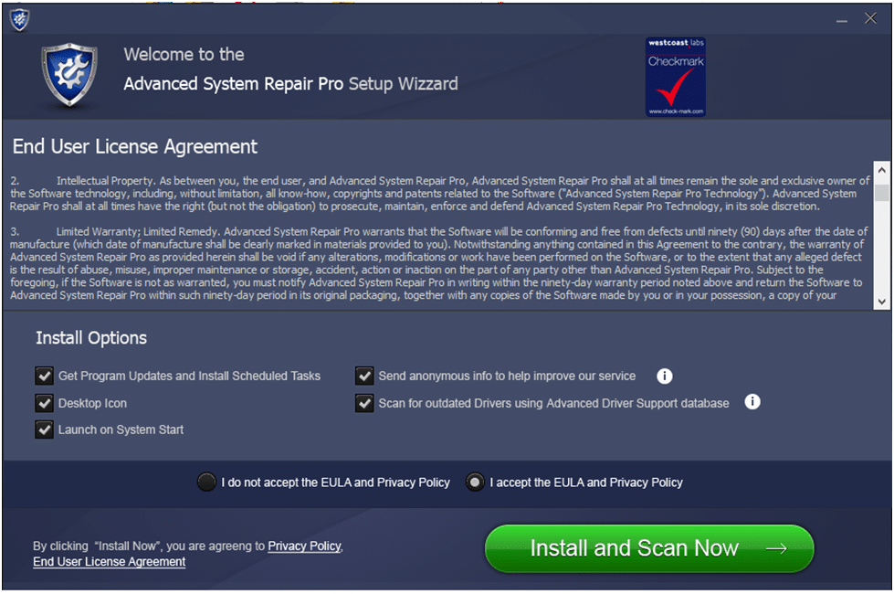 Advanced System Repair Pro License Agreement