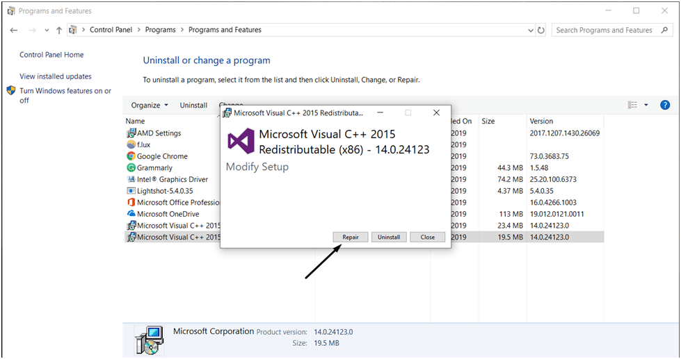 Microsoft Visual C++ 2015 Redistributable repair