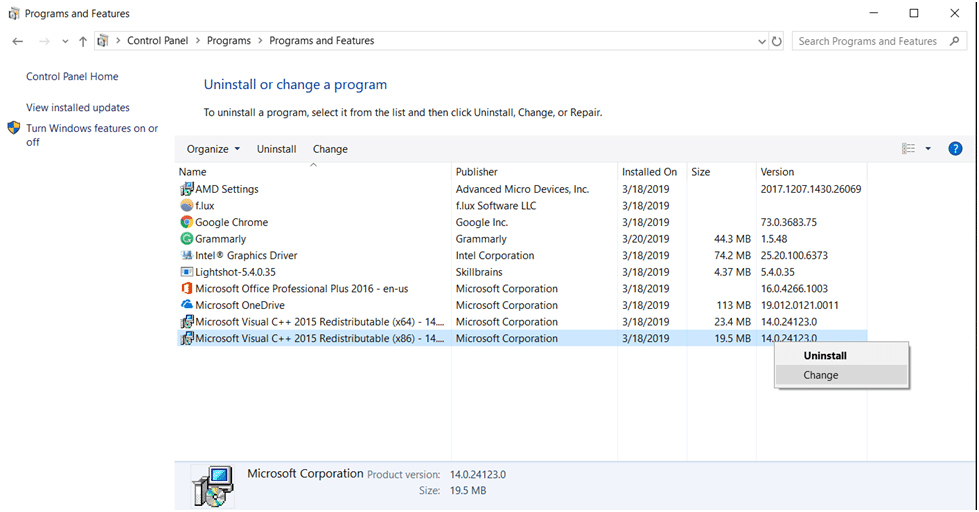 Microsoft Visual C++ Redistributable change
