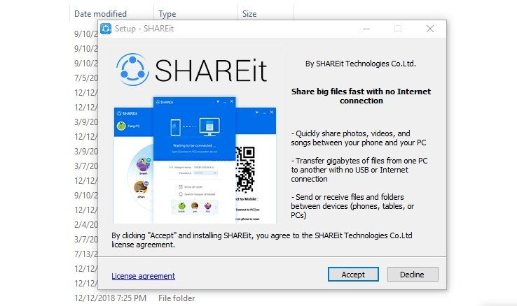 accept SHAREit agreement