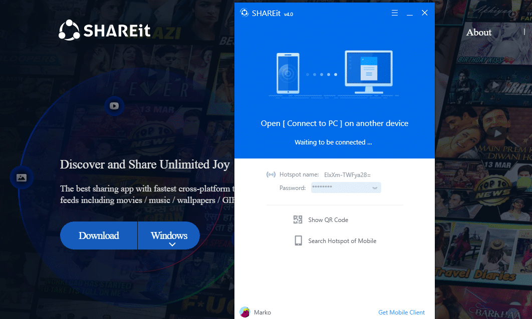 SHAREit menu