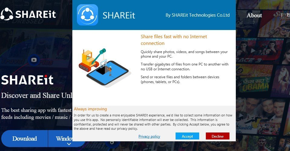 accept SHAREit privacy policy