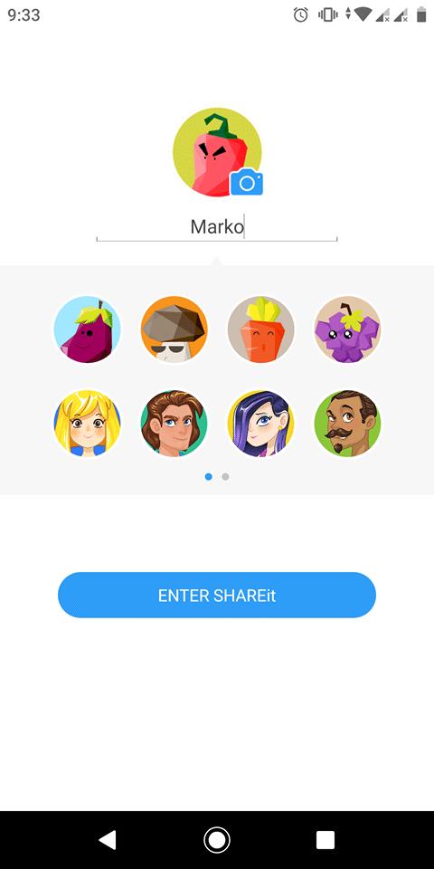SHAREit setup username