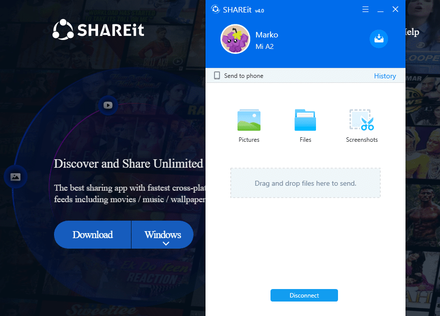 SHAREit share file interface