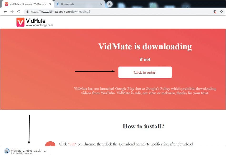 restart VidMate download