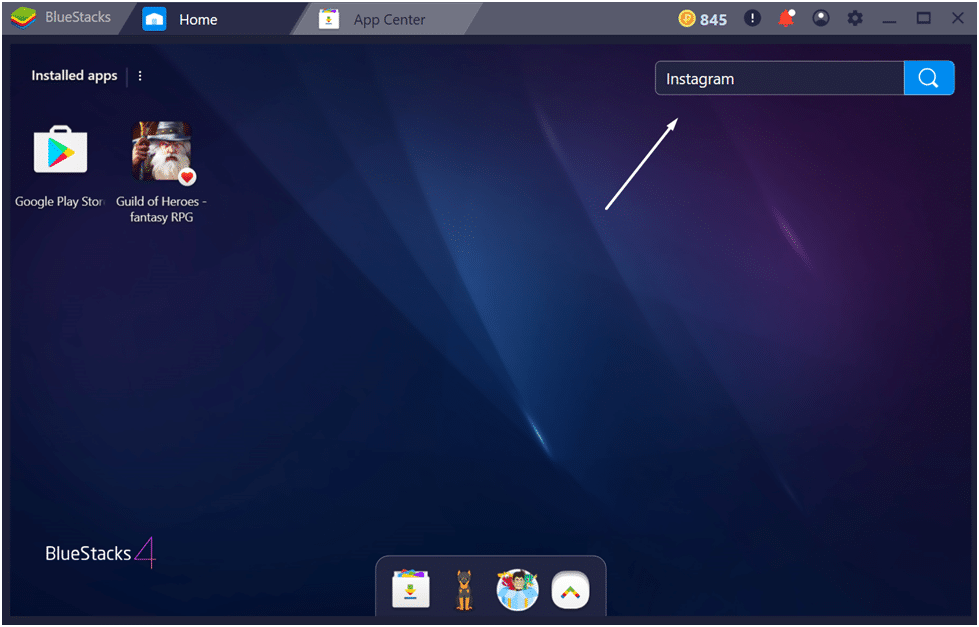 BlueStacks search bar