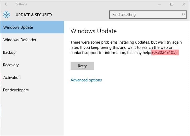 How to Fix Windows 10 Update Error Code 0x8024a105