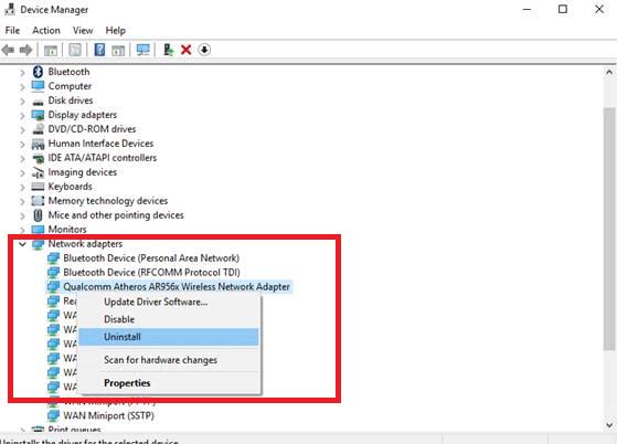 uninstall Network Adapter