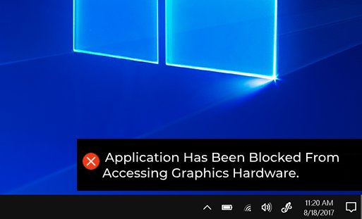 "How to Fix ""Application has been Blocked from Accessing Graphics Hardware"" on Windows 10"
