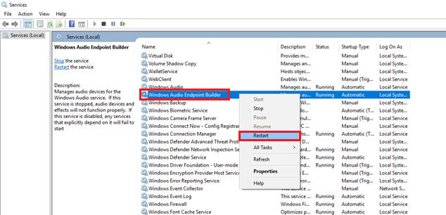 Restart Windows Audio Endpoint Builder