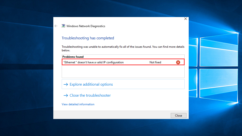 How to fix Ethernet doesn't have a valid IP Configuration in Windows 10