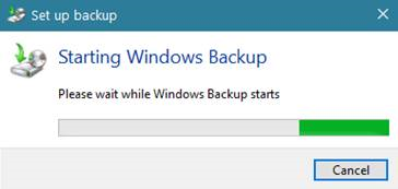 Windows Backup starts