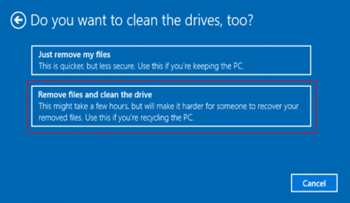 Remove files and clean the drive