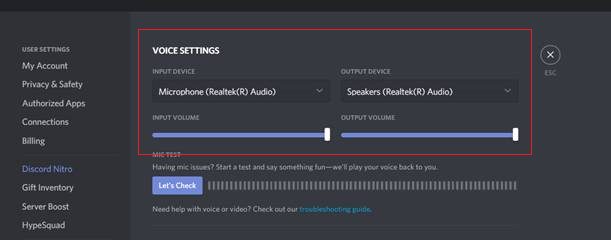 Voice Settings
