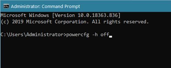 powercfg -h off