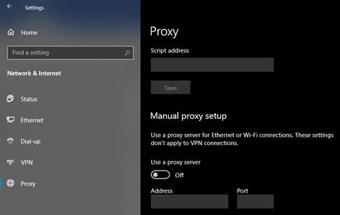 Proxy Server is disabled