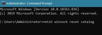 netsh winsock reset catalog