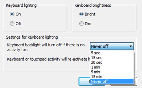 Turn on Keyboard lightning