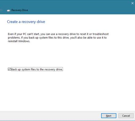 Back up system files to the recovery drive
